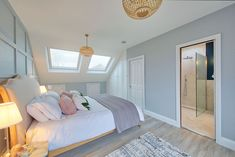 Nicely completed rear dormer conversion with one bedroom & shower room. Loft Bedroom Decor, Bungalow Bedroom, Attic Master Bedroom, Attic Bedroom Designs, Loft Room, Upstairs Bedroom, Room Ideas Bedroom, Attic Rooms, Attic Spaces