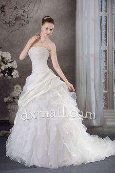 A-line Wedding Dresses Strapless Sweep/Brush Train Organza Satin Ivory 010010101403