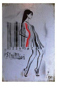 Ge Feng - barcode girl Plagát, Obraz na Posters. Amazing Street Art, Amazing Art, Barcode Art, What Is Contemporary Art, Poster Art, Poster Ideas, Girl Posters, Arte Popular, Stencil Art