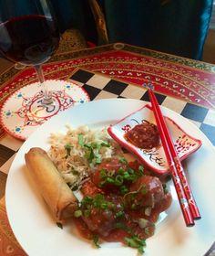 Vegetable Manchurian, jeera sesame basmati rice
