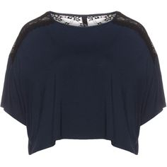 Manon Baptiste Dark-Blue / Black Plus Size Cropped lace t-shirt ($60) ❤ liked on Polyvore featuring tops, t-shirts, plus size, plus size tees, crop tee, lace tee, lace t shirt and black crop top