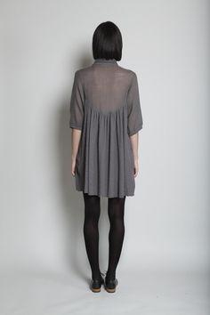 raquel allegra 3/4 grey swing dress.. love the sheer back