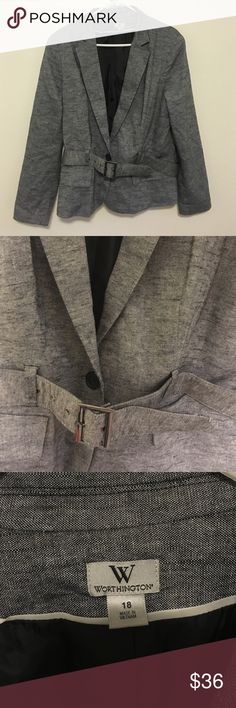 Women's suit jacket/blazer with belt Worn once grey women's suit jacket/blazer with optional belt and button detailing on sleeves. One button closure Worthington Jackets & Coats Blazers