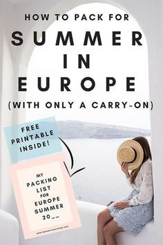 How to pack for a summer trip to #Europe inside a carry-on / Packing for a trip to Europe in the summer / Women's packing guide to Europe / Summer in Europe / How to pack a #capsulewardrobe #packinghacks #packingforeurope #eurotrip #summer #wanderlust #travelhacks #traveltips #packingguide #holiday