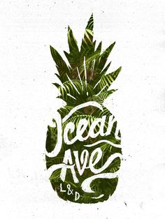 Ocean Ave Lettering and Design Pineapple Logo Art Print by Ocean Ave… The shape of the pineapple is clearly defined whereas the inside is fun and organic in nature. There is an effective use of negative space. Webdesign Inspiration, Typography Inspiration, Graphic Design Inspiration, Typography Design, Branding Design, Logo Design, Web Design, Design Art, Decoration Design