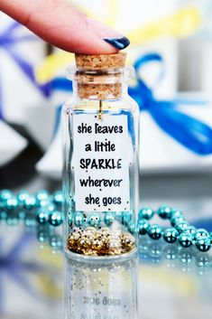 Graduation Gifts Discover She leaves a little sparkle wherever she goes Personalized Friendship Gift Message in a Bottle Gift for Women Sister Gift Under 10 Christmas Glass Bottle Crafts, Bottle Charms, Bottle Necklace, Bottle Art, Glass Bottles, Jar Crafts, Diy Crafts To Sell, Farewell Gifts, Miniature Bottles