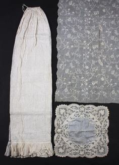An early 19th century empire line tamboured muslin apron