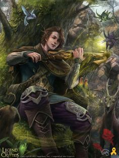 Bard with violin or musical druid charming the birds from the trees - and a stag male rpg character for fantasy gaming / DnD / Pathfinder Check out this awesome piece by Mansik Yang on Fantasy Male, Foto Fantasy, High Fantasy, Fantasy Warrior, Fantasy Rpg, Medieval Fantasy, Fantasy Artwork, Elves Fantasy, Final Fantasy