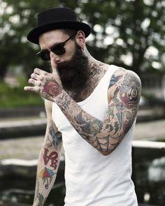 absoluteleisure:  Ricki Hall® white wifebeater fashion men streetstyle tumblr beard
