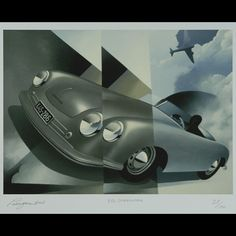 """Porsche 356 Speedster Giclee by Alain Lévesque (2008) This signed, limited edition print (giclee) features the silver 1948 Porsche 356 Speedster No. 1 prototype set against a gray sky haloed by a two-engined airplane. World renowned French-Canadian graphic artist Alain Lévesque exhibits his unique style capturing elements of Cubism and Bauhaus. This signed edition - No. 28 of 150 - is an elegant addition to any collection. (Measures 28"""" x 21.75"""". A- Condition). Price $210 USD"""