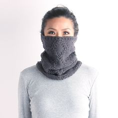 Knit cowl, chunky  knit cowl, knitted neckwarmer, neckwarmer, loop scarf, gray knit cowl, knit snood, black knit neckwarmer, white knit cowl