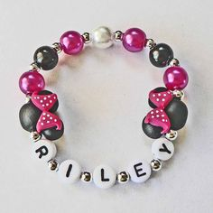 Hot Pink Minnie Mouse inspired Jewelry Hypoallergenic Personalized Name Bracelet Children Toddler Kids mini mouse ears Pink Black Polka Dots