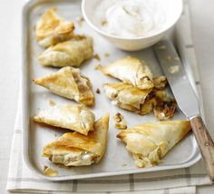 Apple pie samosas. These hand-held puds are a great low-fat alternative to apple pie, and are bound to be a big hit with a crowd.