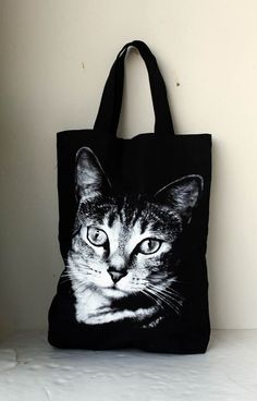 Big size / Cat screen printed on black Canvas tote bag