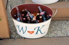 the bride and groom's initials are painted on a metal tub to serve as a drink cooler - thereddirtbride.com - see more of this wedding here Wedding Reception, Rustic Wedding, Wedding Ideas, Initial Decor, Low Country Boil, Metal Tub, Love And Marriage, Jessie, Initials