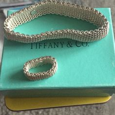 Tiffany & Co. Sterling Silver Mesh Set Authentic Tiffany & Co. Silver mesh bracelet and ring. Excellent condition. Were gifts, but I haven't worn them in years, so posting them for someone else to enjoy. Tiffany & Co. Jewelry Bracelets