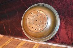 Vintage Solid Copper Strainer Colander with Metal Ring Hanger Handle 8 3/4""