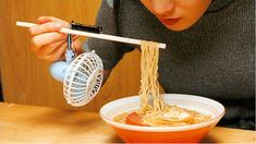 19 Awesomely Impractical Japanese Inventions - Chindōgu (n.): The Japanese art of inventing gadgets that are seemingly useful but too absurd to actually use./ For soup that's too hot or chopsticks that are just too darn light.