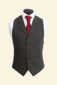 Charcoal Shetland Donegal Tweed Edward Waistcoat - Tweed Suit Waistcoats - Clothing - Mens Walker Slater Tweed Specialists