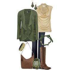 """""""Olive, Cream, and Brown"""" by maggiesuedesigns on Polyvore"""
