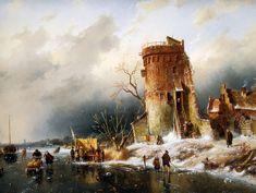 Charles Leickert - Wintertafereel bij een toren (2)