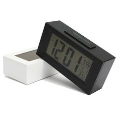 Large LCD Display Digital Snooze Alarm Clock Thermometer LED Backlight