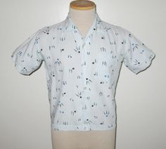Vintage 1950s 1960s Blue Novelty Print Shirt With Bowling Ball & Pin Design - Size S by SayItWithVintage on Etsy