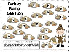Here's a Thanksgiving themed BUMP game for practicing basic addition facts.