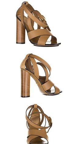 Want This:  Gucci womens leather heel sandals lifford maori brown US size 7 381393 AEMT0 2613