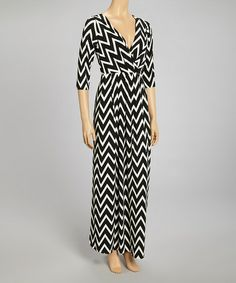 Take a look at this Black & White Zigzag Surplice Maxi Dress by Reborn Collection on #zulily today!