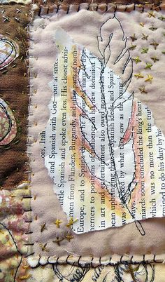 Makes me think of Jennifer Bowman mixed media quilt ~ by janelafazio Embroidery Leaf, Free Motion Embroidery, Free Machine Embroidery, Textile Fiber Art, Textile Artists, Fabric Journals, Art Journals, Textiles, Thread Painting