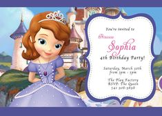 Sofia the First  Birthday Invitation  by Asapinvites on Etsy, $12.00