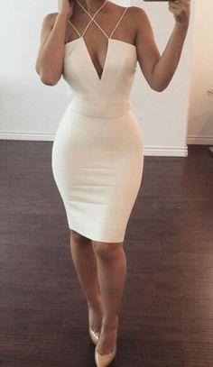 Column Homecoming Dresses, White Homecoming Dresses, Short Homecoming Dresses With Criss-cross Sleeveless Mini, Short Homecoming Dresses, Short White Dresses, White Short Dresses, White Mini dresses, White Sheath dresses, Homecoming Dresses Short, White Sleeveless dresses