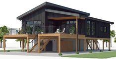 kysthusplaner 03 husplan house plans on stilts Coastal House Plans, Beach House Plans, Dream House Plans, Modern House Plans, Modern House Design, House Floor Plans, Bungalow House Plans, Style At Home, Stilt House Plans