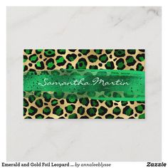 Emerald and Gold Foil Leopard Brush Stroke Business Card Create Your Own, Create Yourself, Online Gifts, Zazzle Invitations, Brush Strokes, Gold Foil, Business Cards, Personalized Gifts, Emerald