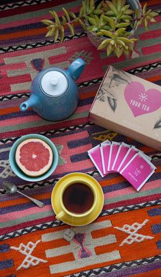 Your Tea Tiny Tea helps with indigestion, bloating and mood. I have made it a daily ritual on my favorite kilim rug.