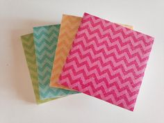 Chevron SPARKLE COLORFUL Ceramic Tile Costers *Set of 4*