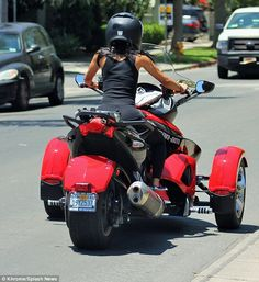 Karrueche Tran rides a three-wheel motorcycle in LA #dailymail