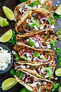 Mole Tacos Recipe - -Chicken Mole Tacos Recipe - - The best shrimp tacos! Spicy Shrimp Tacos with Garlic Cilantro Lime Slaw - ready in 30 minutes, loaded with flavor. SO YUM! Gourmet Recipes, Mexican Food Recipes, Dinner Recipes, Cooking Recipes, Healthy Recipes, Gourmet Tacos, Chicken Taco Recipes, Beef Recipes, Recipe Chicken