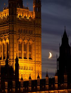 Crescent moon and Westminster, London