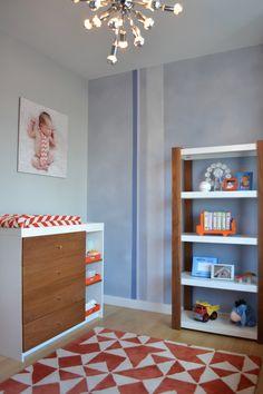 Project Nursery - Sputnik Lighting Fixture in Blue and Orange Nursery