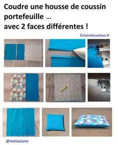 Voici, en 5 étapes, comment j'ai cousu une housse de coussin type portefeuille (avec rabats), avec 2 faces différentes : une face en tissu imprimé, une face en tissu uni. Sewing Hacks, Sewing Tutorials, Sewing Projects, Sewing Online, Chandelier Makeover, Patchwork Cushion, Sewing Pillows, Couture Sewing, Crochet Home
