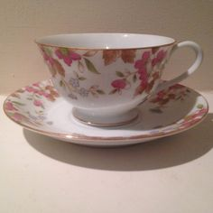 Vintage Cherry China Teacup and Saucer Set