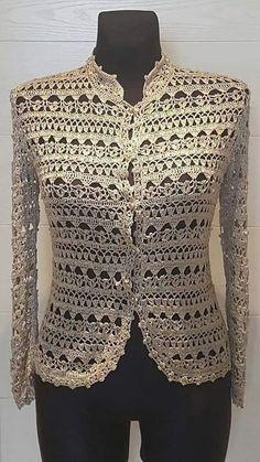 Gilet Crochet, Crochet Coat, Crochet Cardigan Pattern, Crochet Jacket, Crochet Blouse, Crochet Clothes, Crochet Wedding Dresses, Silk Jacket, Pulls