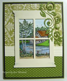 delightful card facing inside to out ... peaceful lake and water scene outside ... wall papered inside ...