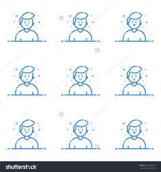 Vector Illustration Of Blue Icons In Flat Line Style. Linear Cute And Happy Mans. Graphic Design Concept Of Emoji And Avatar. Use In Web Project And Applications Outline Isolated Object. - 535382638 : Shutterstock