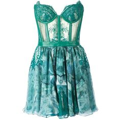 Kristian Aadnevik Lace and Print Strapless Dress ($1,675) ❤ liked on Polyvore featuring dresses, vestidos, short dresses, robes, green, blue cocktail dress, green cocktail dress, blue dress, blue lace cocktail dress and green mini dress
