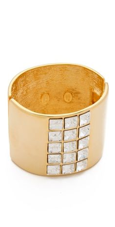Kenneth Jay Lane Hinged Cuff with Crystals