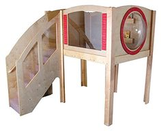 $$  Mainstream Explorer 1 Preschool Corner Wave Loft w Steps on Left (Beige)