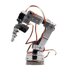 ROT2U 6DOF Aluminium Robot Arm Clamp Claw Mount Kit With Servos For Arduino-Silver